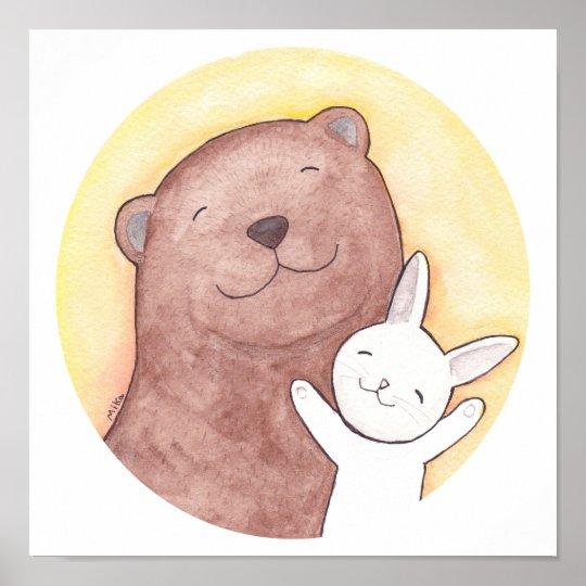 Happy Bear & Rabbit Poster Bear and Bunny Square