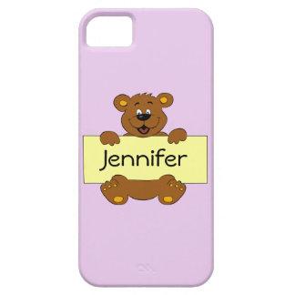 Happy bear with customizable banner cartoon girls iPhone 5 case