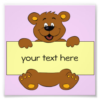 Happy bear with customizable banner cartoon kids photograph