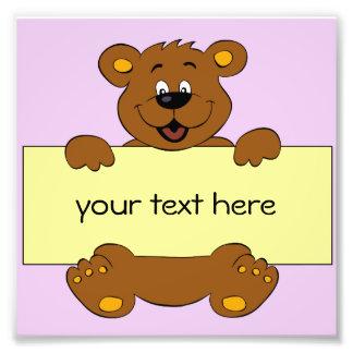 Happy bear with customizable banner cartoon photograph