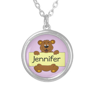 Happy bear with customizable banner cartoon silver plated necklace
