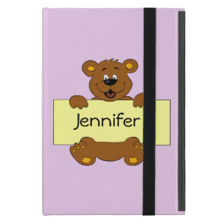 Happy bear with customizable banner kids ipad case