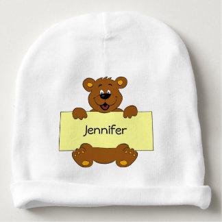 Happy bear with name banner cartoon baby beanie