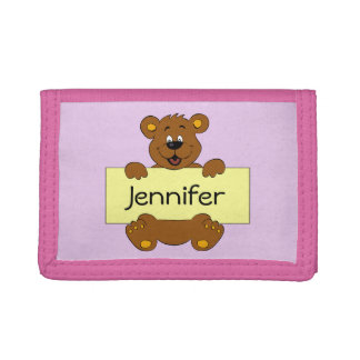 Happy bear with name banner cartoon pink girl trifold wallet