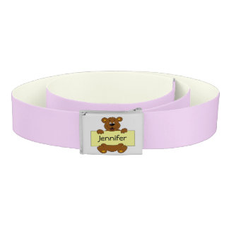 Happy bear with name banner cartoon pink kids belt