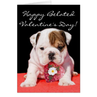Happy beated Valentine's Day bulldog puppy card