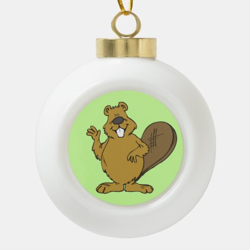 Happy beaver cartoon ornament