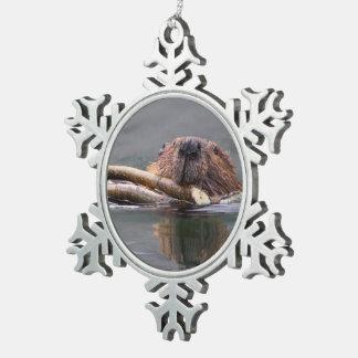 Happy Beaver Pewter Snowflake Decoration