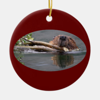 happy beaver round ceramic decoration