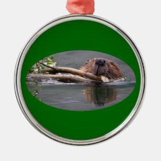 happy beaver Silver-Colored round decoration