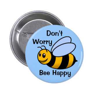 Happy Bee 6 Cm Round Badge