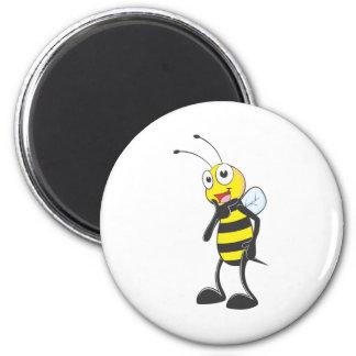 Happy Bee 6 Cm Round Magnet