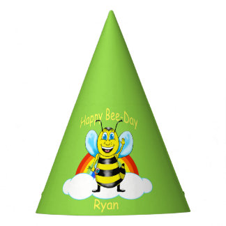 Happy Bee Birthday Hat (Customizable)