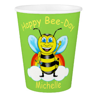 Happy Bee Birthday Paper Cups (Customizable)