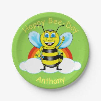 Happy Bee Birthday Paper Plates (Customizable)