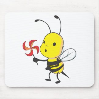 Happy Bee Blowing Windmill Mousepads