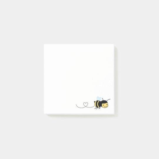 Happy Bee Buzzing Around Post-it Notes