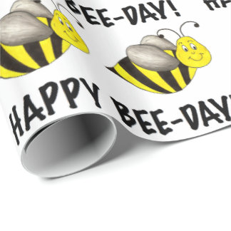 Happy Bee Day Bday Black Yellow Bumblebee Birthday Wrapping Paper
