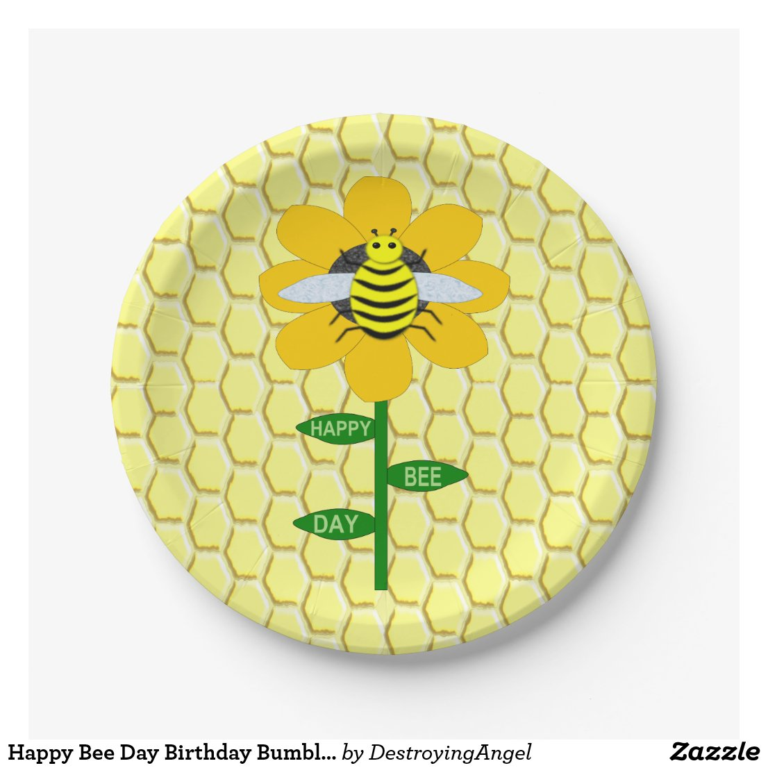 Happy Bee Day Birthday Bumblebee Paper Plate