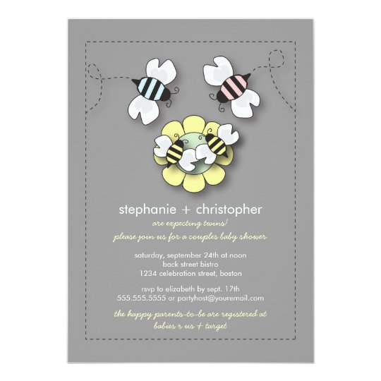Happy Bee Family Couples Twins Baby Shower Card