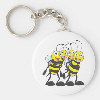 Happy Bee Family Having Fun Together Basic Round Button Key Ring