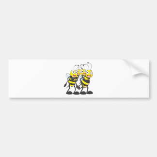 Happy Bee Family Having Fun Together Bumper Sticker
