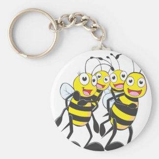 Happy Bee Family Having Fun Together Key Ring