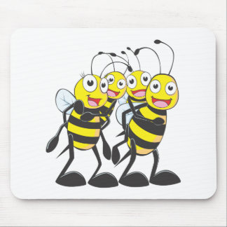 Happy Bee Family Having Fun Together Mousepad