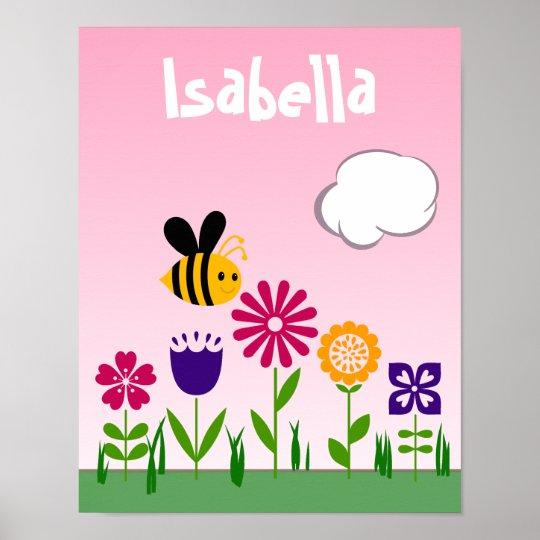 Happy Bee Flower Garden Personalised Poster