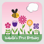 Happy Bee Flower Garden Personalised Square Sticker