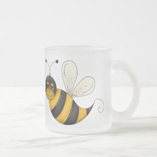 Happy Bee Frosted Glass Mug