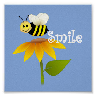Happy Bee/ Nursery Decor Poster