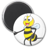 Happy Bee Pointing Fridge Magnets