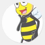 Happy Bee Posing like a Model Round Sticker