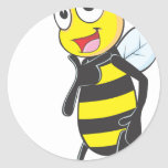Happy Bee Posing like a Model Round Stickers