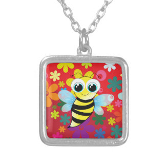 Happy bee silver plated necklace
