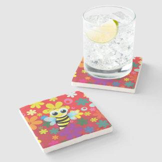 Happy bee stone coaster