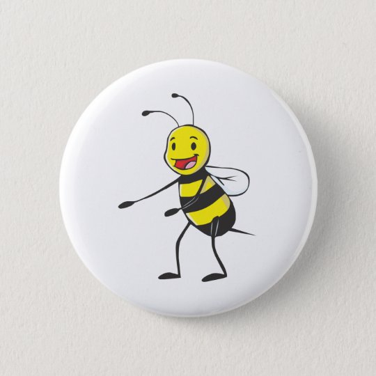 Happy Bee Welcoming You 6 Cm Round Badge