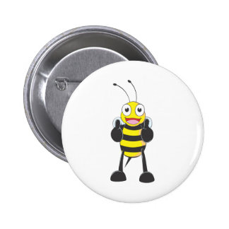 Happy Bee with Gesture of Approval 6 Cm Round Badge