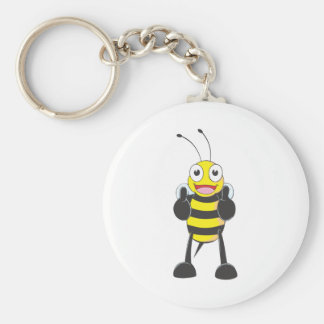 Happy Bee with Gesture of Approval Basic Round Button Key Ring