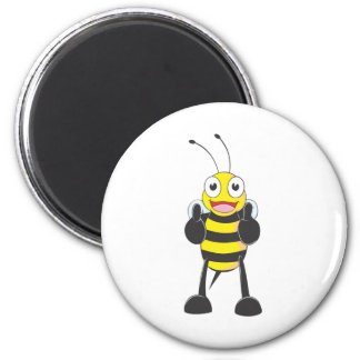 Happy Bee with Gesture of Approval 6 Cm Round Magnet