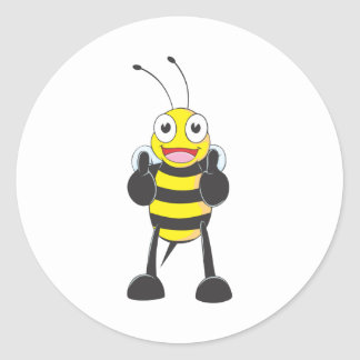 Happy Bee with Gesture of Approval Classic Round Sticker