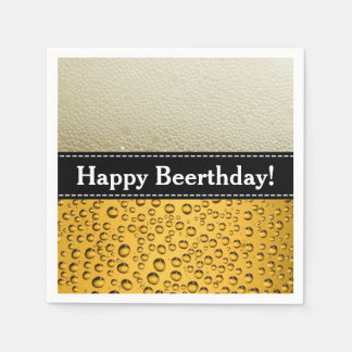 Happy Beerthday! Adult Birthday or Customize Text Disposable Napkin