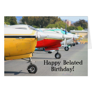 Happy Belated Birthday Airplanes greeting card