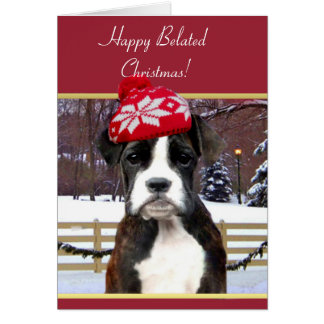 Happy Belated Christmas boxer dog Greeting Card