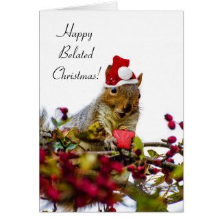 Happy Belated Christmas Squirrel Card