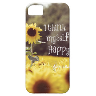 Happy Bible Verse with Sunflowers iPhone 5 Cases