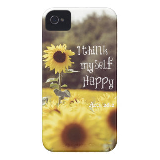 Happy Bible Verse with Sunflowers Case-Mate iPhone 4 Cases