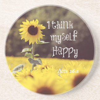 Happy Bible Verse with Sunflowers Coaster