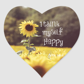 Happy Bible Verse with Sunflowers Heart Sticker